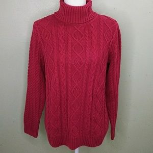 Croft & Barrow Red Cable Knit Cotton Turtleneck L